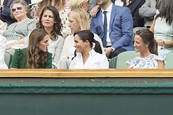 July 13, 2019 - London, London, UK - London, UK. HRH The Duchess of Cambridge, HRH The Duchess of Sussex and Pippa Matthews watch the ladies singles finals on centre court tennis on Day 12 of the Wimbledon Tennis Championships 2019 held at the All England Lawn Tennis and Croquet Club. (Credit Image: © Ray Tang/London News Pictures via ZUMA Wire)