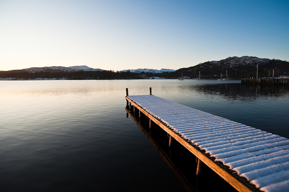 Waterhead, Ambleside, in winter, with ice and snow, Lake District, Cumbria, UK