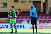 Forest Green Rovers Liam Kitching(20) is shown a yellow card, booked during the EFL Sky Bet League 2 match between Bradford City and Forest Green Rovers at the Utilita Energy Stadium, Bradford, England on 24 August 2019.