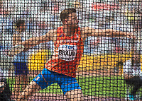 Athletics - 2017 IAAF London World Athletics Championships - Day Nine, Morning Session<br /> <br /> Decathlon Men - Discus Throw<br /> <br /> Pieter Braun (Netherlands) at the London Stadium<br /> <br /> COLORSPORT/DANIEL BEARHAM