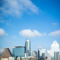 Austin Texas skyline cityscape vertical photo with copy space for adding text. Austin, TX is a major city in the Southwestern United States of America.