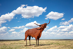 """Bridle Bit Bull"", a 22 foot tall steel sculpture of a Texas longhorn, by Joe Barrington, standing in a pasture by Highway 380,Throckmorton, Texas, USA."