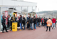 A general view of Liberty Stadium, home of Ospreys fans queuing to get into the club shop<br /> <br /> Photographer Simon King/Replay Images<br /> <br /> Guinness PRO14 Round 19 - Ospreys v Connacht - Friday 6th April 2018 - Liberty Stadium - Swansea<br /> <br /> World Copyright &copy; Replay Images . All rights reserved. info@replayimages.co.uk - http://replayimages.co.uk