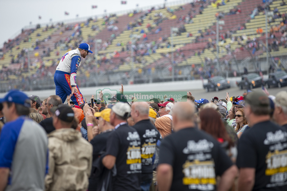 June 10, 2018 - Brooklyn, Michigan, United States of America - Chris Buescher (37) waits for the start of the FireKeepers Casino 400 during a weather delay at Michigan International Speedway in Brooklyn, Michigan. (Credit Image: © Stephen A. Arce/ASP via ZUMA Wire)