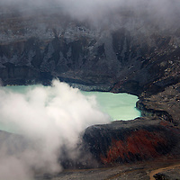 Central America, Costa Rica, Poas. Poas Vocano Crater.