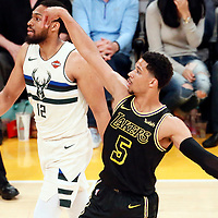 30 March 2018: Los Angeles Lakers guard Josh Hart (5) is seen during the Milwaukee Bucks 124-122 victory over the LA Lakers, at the Staples Center, Los Angeles, California, USA.