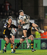 Wycombe, GREAT BRITAIN,  Sharks' Richard WIGGLESWORTH, collects the high ball, during the second half of the Guinness Premiership match,  London Wasps vs Sale Sharks at Adam's Park Stadium, Bucks, on Sun 23.11.2008. [Photo, Peter Spurrier/Intersport-images]