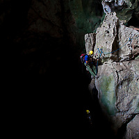 Josh Morris and Annie Nguyen descend into Anxiety State Crisis Cave, Crazy Horse Buttress, Chiang Mai, Thailand