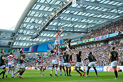 Luke Thompson of Japan wins the ball at a lineout - Mandatory byline: Patrick Khachfe/JMP - 07966 386802 - 19/09/2015 - RUGBY UNION - Brighton Community Stadium - Brighton, England - South Africa v Japan - Rugby World Cup 2015 Pool B.