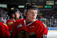 KELOWNA, BC - MARCH 03:  John Ludvig #15 of the Portland Winterhawks stands on the bench against the Kelowna Rockets at Prospera Place on March 3, 2019 in Kelowna, Canada. (Photo by Marissa Baecker/Getty Images)