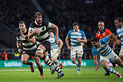 Twickenham, United Kingdom, Saturday, 1st December, 2018, RFU, Rugby, Stadium, England, Baa-Baas, No.5,  Lood de Jager, breaks through and go's on to score a second Half Try, during the Killik Cup match at Twickenham, Baa-Baas vs Argentina, © Peter Spurrier