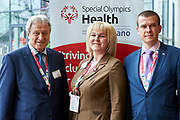 Graz, Austria - 2017 March 18: (L-R) Yuri Smirnov from Russia (Deputy Leader of the Russian Duma and President, Special Olympics Russia) and Marina Tomilova from Russia (Vice Minister of Sports) and Witold Banka (Polish Sports Minister) pose to the picture during Global Forum on Inclusion in Social Affairs and Sports while Special Olympics World Winter Games Austria 2017 at Convention Centre Messe Graz on March 18, 2017 in Graz, Austria.<br /> <br /> Mandatory credit:<br /> Photo by &copy; Adam Nurkiewicz / Mediasport<br /> <br /> Adam Nurkiewicz declares that he has no rights to the image of people at the photographs of his authorship.<br /> <br /> Picture also available in RAW (NEF) or TIFF format on special request.<br /> <br /> Any editorial, commercial or promotional use requires written permission from the author of image.<br /> <br /> Image can be used in the press when the method of use and the signature does not hurt people on the picture.