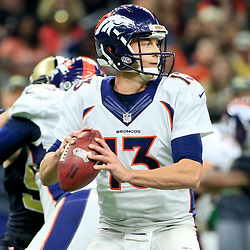 Nov 13, 2016; New Orleans, LA, USA;  Denver Broncos quarterback Trevor Siemian (13) against the New Orleans Saints during the first half of a game at the Mercedes-Benz Superdome. Mandatory Credit: Derick E. Hingle-USA TODAY Sports