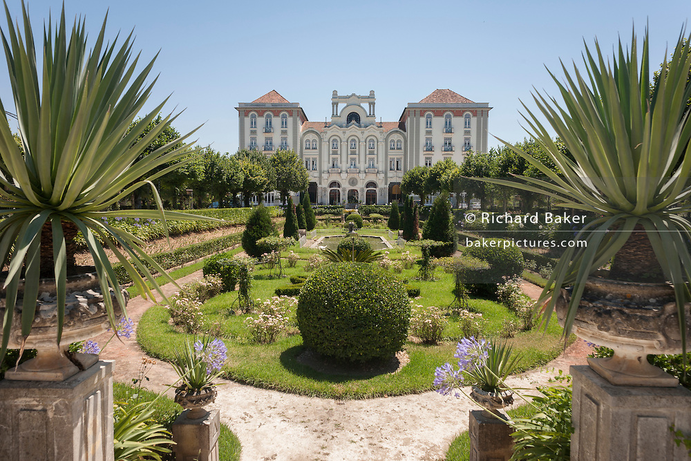 Nostalgic Belle Epoque and Art Nouveau architecture of the Palace Hotel, on 17th July 2016, in Cura, Portugal. The Palace Hotel is one of Portugal's most magnificent, restored to its original Golden Twenties style and grandeur and located between Coimbra and Porto. From the beginning of the 20th century onwards, Curia, has been a meeting place for celebrities and Portuguese bourgeoisie, who were attracted by the springs as well as by its cosmopolitan hotels hotels, the casino, the idyllic spa park and wines of the region. (Photo by Richard Baker / In Pictures via Getty Images)
