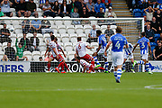 Colchester United striker Michael Mandron (19) shoots at goal and scores the equiliser for Colchester United during the EFL Sky Bet League 2 match between Colchester United and Stevenage at the Weston Homes Community Stadium, Colchester, England on 12 August 2017. Photo by Phil Chaplin.