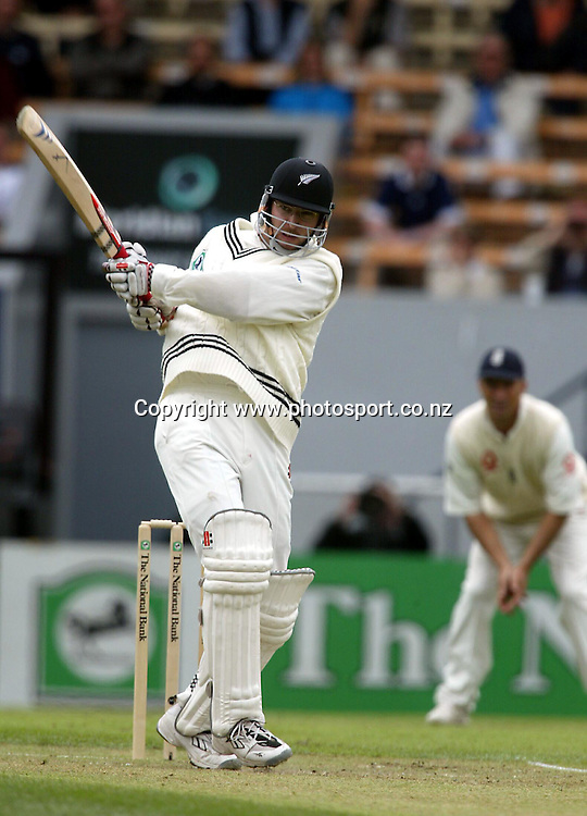 Daniel Vettori bats during day 2 of the 1st cricket test between New Zealand and England, 14 March, 2002, Jade Stadium, Christchurch. Photo: Chris Skelton/PHOTOSPORT<br /><br /><br /><br />045341