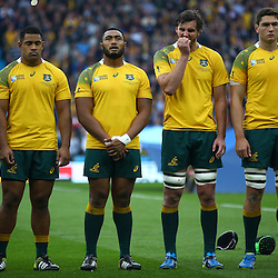 LONDON, ENGLAND - OCTOBER 18:  Australian players line up during the Rugby World Cup Quarter Final match between Australia v Scotland at Twickenham Stadium on October 18, 2015 in London, England. (Photo by Steve Haag)