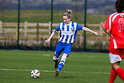 Vicky Ashton-Jones passes upfield during the FA Women's Premier League match between Brighton Ladies and Cardiff City Ladies at Brighton's Training Ground, Lancing, United Kingdom on 22 March 2015. Photo by Geoff Penn.