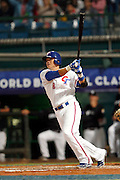 NEW TAIPEI CITY, TAIWAN - NOVEMBER 15:  Yung-Chi Chen #13 of Team Chinese Taipei hits a three run RBI double in the bottom of the fifth inning during Game 2 of the 2013 World Baseball Classic Qualifier against Team New Zealand at Xinzhuang Stadium in New Taipei City, Taiwan on Thursday, November 15, 2012. ( Photo by Yuki Taguchi/WBCI/MLB Photos