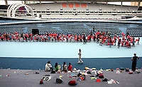 CHILDREN REHEARSING FOR THE OPENING CEREMONY BEFORE SPECIAL OLYMPICS WORLD SUMMER GAMES SHANGHAI 2007..SPECIAL OLYMPICS IS AN INTERNATIONAL ORGANIZATION DEDICATED TO EMPOWERING INDIVIDUALS WITH INTELLECTUAL DISABILITIES..SHANGHAI , CHINA , SEPTEMBER 30, 2007.( PHOTO BY ADAM NURKIEWICZ / MEDIASPORT )..