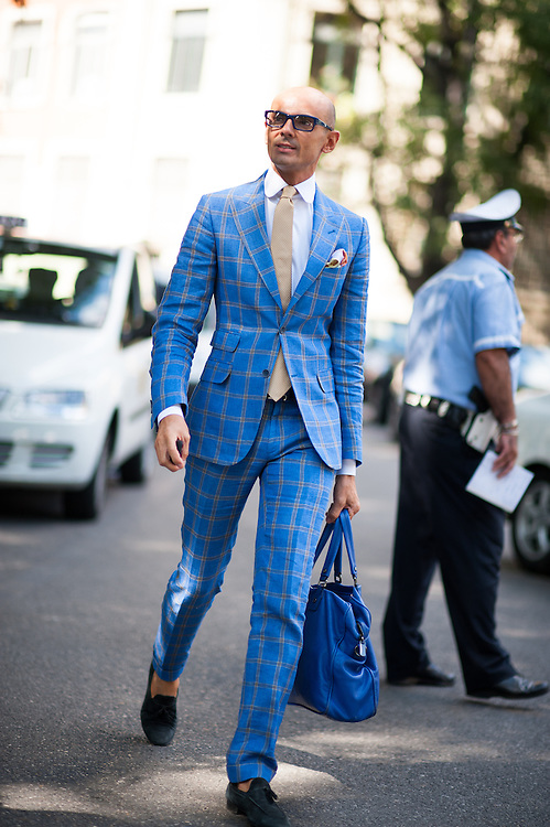 Blue Suit, Outside Emporio Armani
