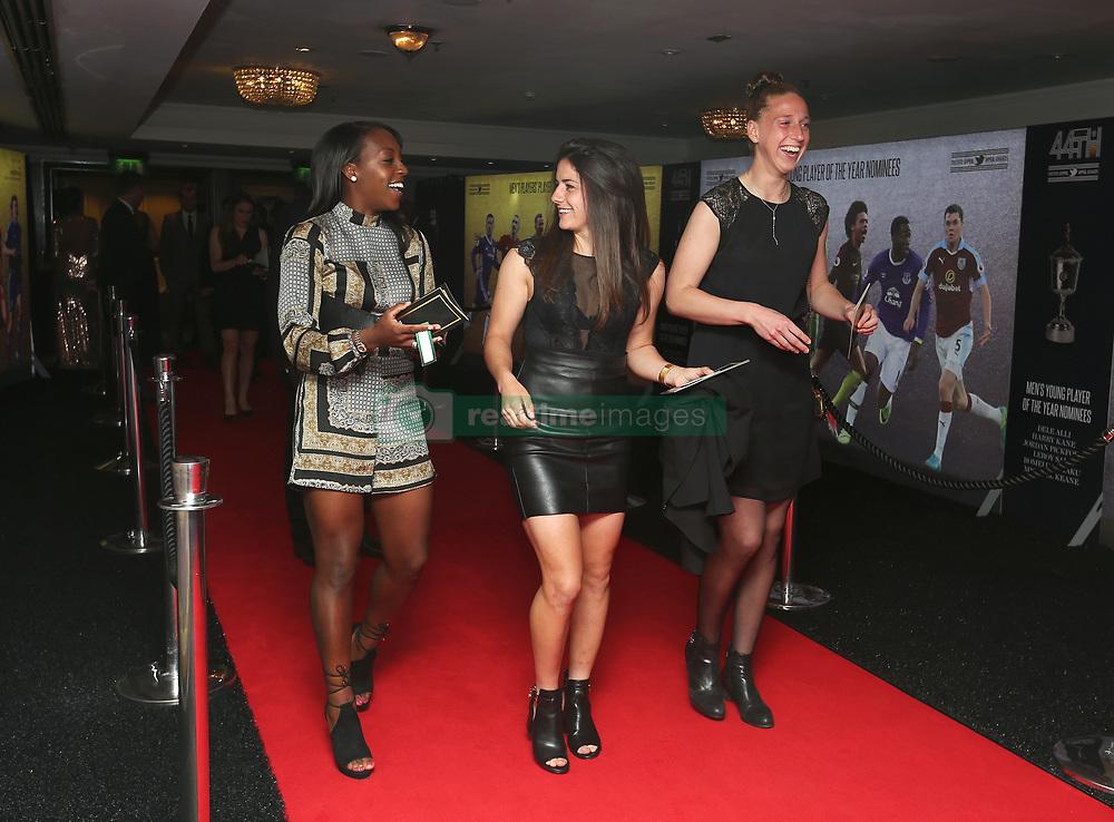 (L-R) Arsenal Ladies' Danielle Carter, Danielle Van de Donk and Sari van Veenendaal arriving for the Professional Footballers' Association Awards 2017 at the Grosvenor House Hotel, London