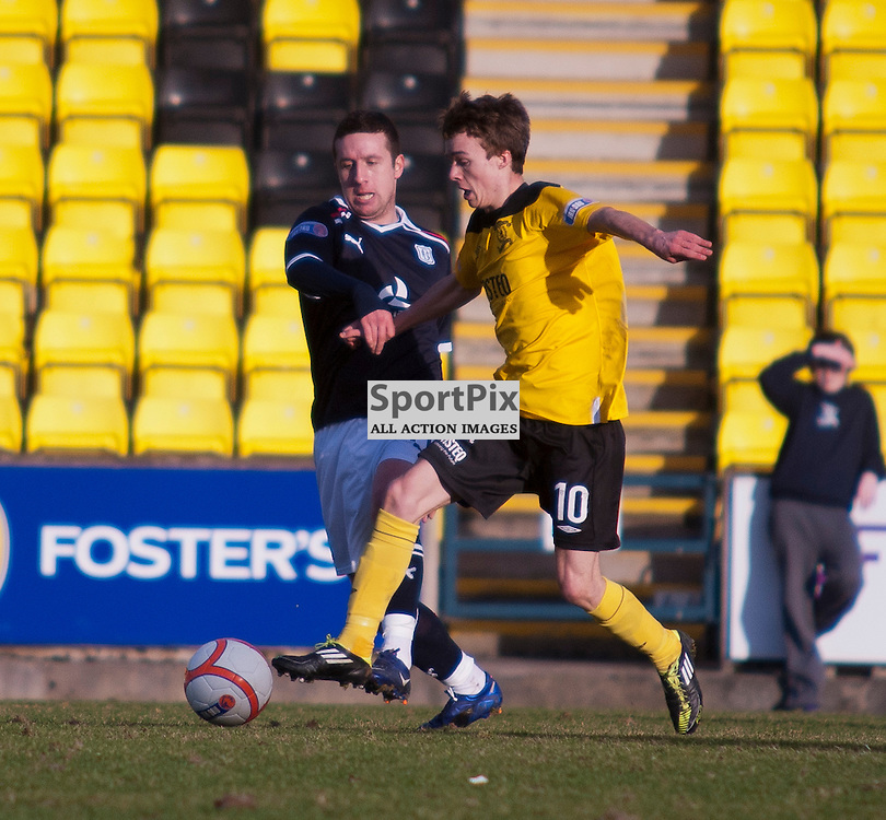 Livingston v Dundee, SFL Division 1 League Match, Falkirk Stadium, 03/03/12, Stefan Scougall is closed down by Ryan Conroy