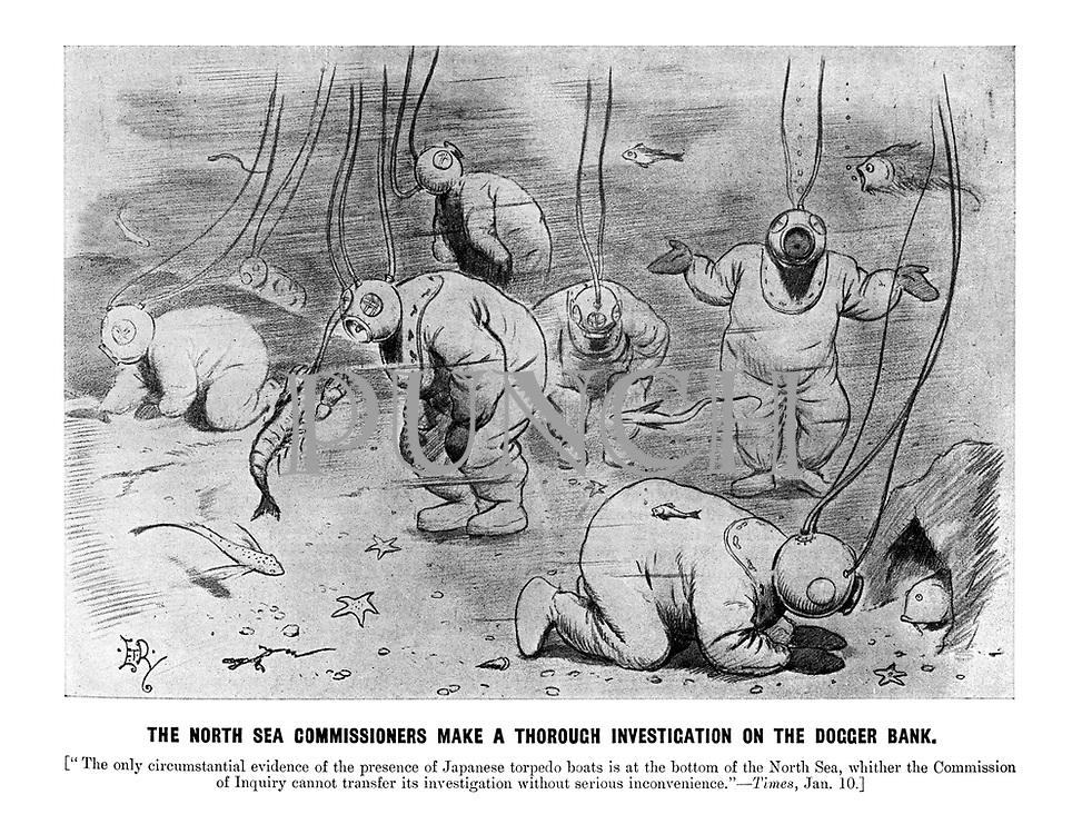 "The North Sea Commissioners make a thorough investigation on the Dogger Bank. [""The only circumstantial evidence of the presence of Japanese torpedo boats is at the bottom of the North Sea, whither the Commission of Inquiry cannot transfer its investigation without serious inconvenience."" - Times, Jan. 10.] (an Edwardian cartoon shows deep sea diver investigators at the sea bed looking in vain for Japanese torpedo boats and making enquiries with lobsters and fish)"