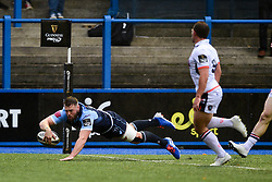 Owen Lane of Cardiff Blues scores his sides first try of the game  - Mandatory by-line: Ryan Hiscott/JMP - 05/10/2019 - RUGBY - Cardiff Arms Park - Cardiff, Wales - Cardiff Blues v Edinburgh Rugby - Guinness Pro 14
