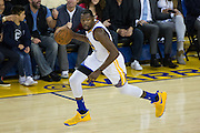 Golden State Warriors forward Kevin Durant (35) dribbles the ball up the court against the Oklahoma City Thunder at Oracle Arena in Oakland, Calif., on November 3, 2016. (Stan Olszewski/Special to S.F. Examiner)
