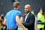 MKDons manager Paul Tisdale greets Exeter City manager Matt Taylor before the EFL Sky Bet League 2 match between Milton Keynes Dons and Exeter City at stadium:mk, Milton Keynes, England on 25 August 2018.