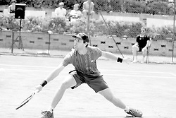 June 22, 2018 - L'Aquila, Italy - (EDITORS NOTE: Image has been converted to black and.white.) Guilherme Clezar during match between Guilherme Clezar (BRA) and Gianluigi Quinzi (ITA) during day 7 at the Internazionali di Tennis Citt dell'Aquila (ATP Challenger L'Aquila) in L'Aquila, Italy, on June 22, 2018. (Credit Image: © Manuel Romano/NurPhoto via ZUMA Press)