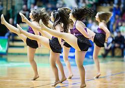 Cheerleaders perform during basketball match between KK Krka and KK Union Olimpija in Round #7 of Telemach League for Slovenian National Champion 2014/15 on April 18, 2015 in Dvorana Leona Stuklja, Novo mesto, Slovenia. Photo by Vid Ponikvar / Sportida