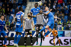May 13, 2018 - Genk, BELGIUM - Genk's Omar Colley and Charleroi's Mamadou Fall fight for the ball during the Jupiler Pro League match between KRC Genk and Sporting Charleroi, in Genk, Sunday 13 May 2018, on day nine of the Play-Off 1 of the Belgian soccer championship. BELGA PHOTO JASPER JACOBS (Credit Image: © Jasper Jacobs/Belga via ZUMA Press)