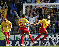 Photo: Lee Earle.<br /> Reading v Watford. The Barclays Premiership. 05/05/2007.Watford's Aidy Mariappa (L) congratulates Marlon King after he scored their second.