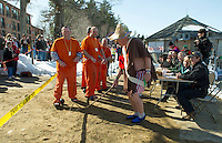 """Team    paraded in front of the judges before going for a """"Winni Dip"""" for Special Olympics on Sunday afternoon at the Margate Resort.   (Karen Bobotas/for the Laconia Daily Sun)"""
