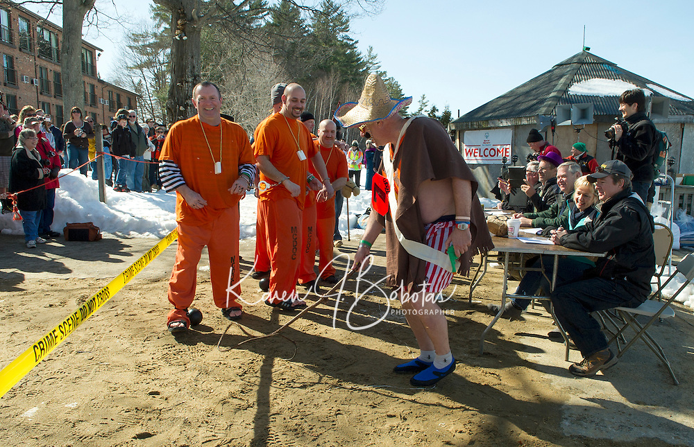 "Team    paraded in front of the judges before going for a ""Winni Dip"" for Special Olympics on Sunday afternoon at the Margate Resort.   (Karen Bobotas/for the Laconia Daily Sun)"