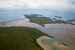 Extensive mudflats and fringing reef systems in the Buccaneer Archipelago on the Kimberley coast.