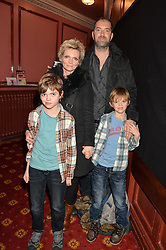 Actress SHARON SMALL her husband DAN BRIDGES and children (l-r) LEO & ZAC at an after show party following the opening of Peter Pan at the New Wimbledon Theatre, 93 The Broadway, London on 8th December 2015.