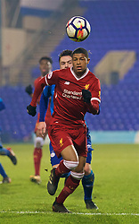 BIRKENHEAD, ENGLAND - Tuesday, December 19, 2017: Liverpool's Rhian Brewster during the Under-23 FA Premier League International Cup Group A match between Liverpool and PSV Eindhoven at Prenton Park. (Pic by David Rawcliffe/Propaganda)