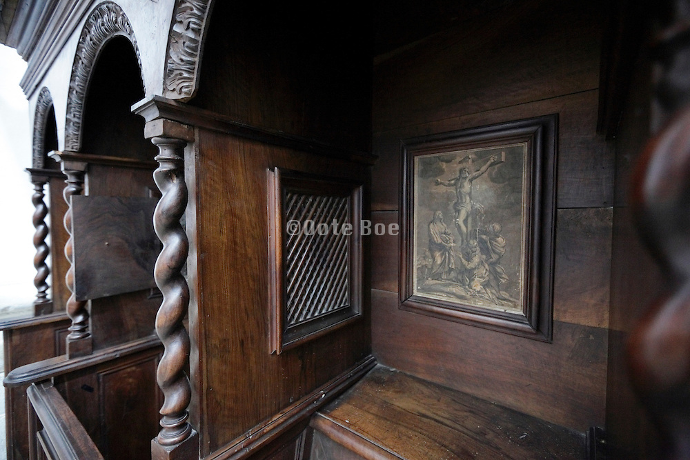 close up of a confessional
