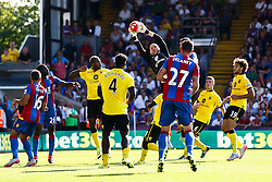 Brad Guzan of Aston Villa comes out to make a save - Mandatory byline: Jason Brown/JMP - 07966386802 - 22/08/2015 - FOOTBALL - London - Selhurst Park - Crystal Palace v Aston Villa - Barclays Premier League
