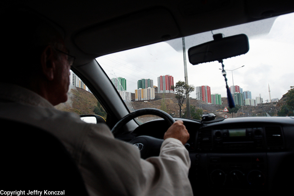 A taxi driver on his way to Ankara International Airport in Ankara, Turkey
