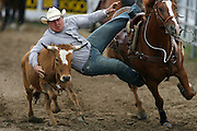062109-Evergreen, Colo.-steerwrestling-during the 2009 Evergreen Rodeo PRCA Steer Wrestling Competition Sunday, June 21, 2009 at The Evergreen Rodeo Grounds..Photo By Matthew Jonas/Evergreen Newspapers/Photo Editor