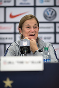 USA head coach Jill Ellis speaks to the media after an international friendly against South Korea in Chicago, Sunday, Oct. 6, 2019, in Chicago. USWNT tied the Korea Republic 1-1. (Max Siker/Image of Sport)