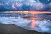 Surf at sunrise on an Outer Banks beach.