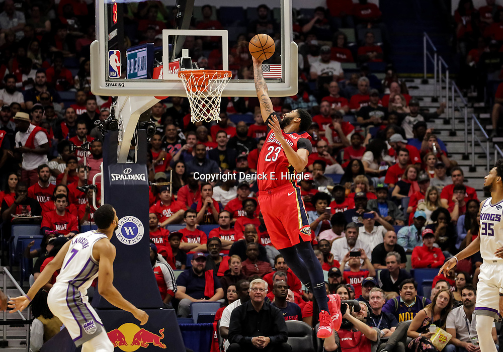 Oct 19, 2018; New Orleans, LA, USA; New Orleans Pelicans forward Anthony Davis (23) dunks against the Sacramento Kings during the second quarter at the Smoothie King Center. Mandatory Credit: Derick E. Hingle-USA TODAY Sports