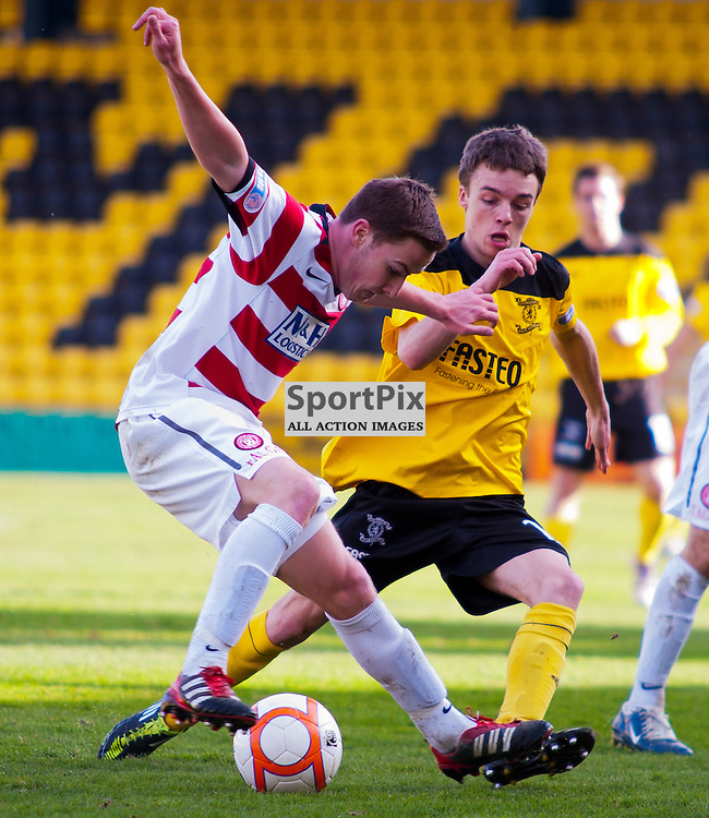 Livingston v Hamilton, SFL Division 1 League Match, Braidwood Motor Company Stadium, Jonathon Routledge is closed down by Stefan Scougall