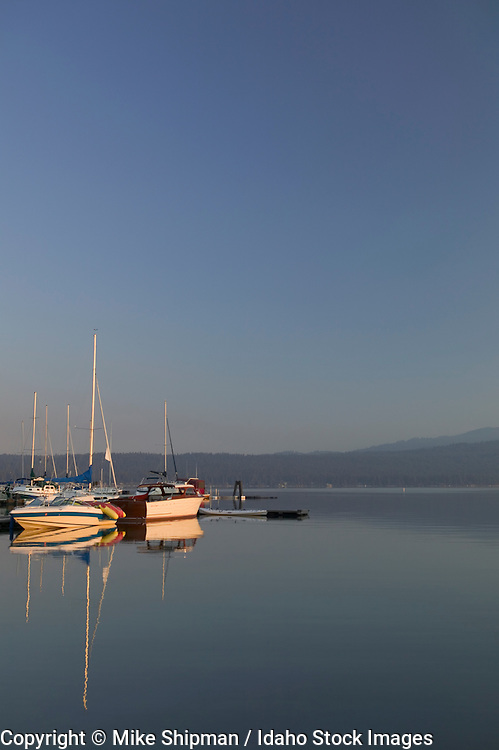 Idaho, Valley County, McCall, Payette Lake. Sailboats docked at sunrise.