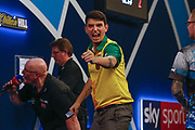 Diogo Portela celebrates a leg during the Darts World Championship 2018 at Alexandra Palace, London, United Kingdom on 18 December 2018.